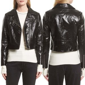 Veda Nova Gloss Leather Moto Jacket